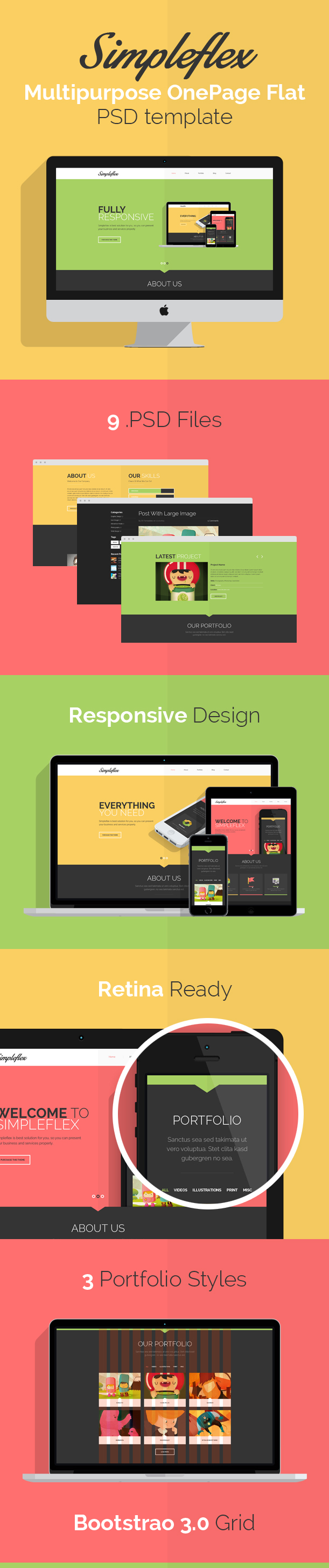 Simpleflex - OnePage & MultiPage Flat PSD template