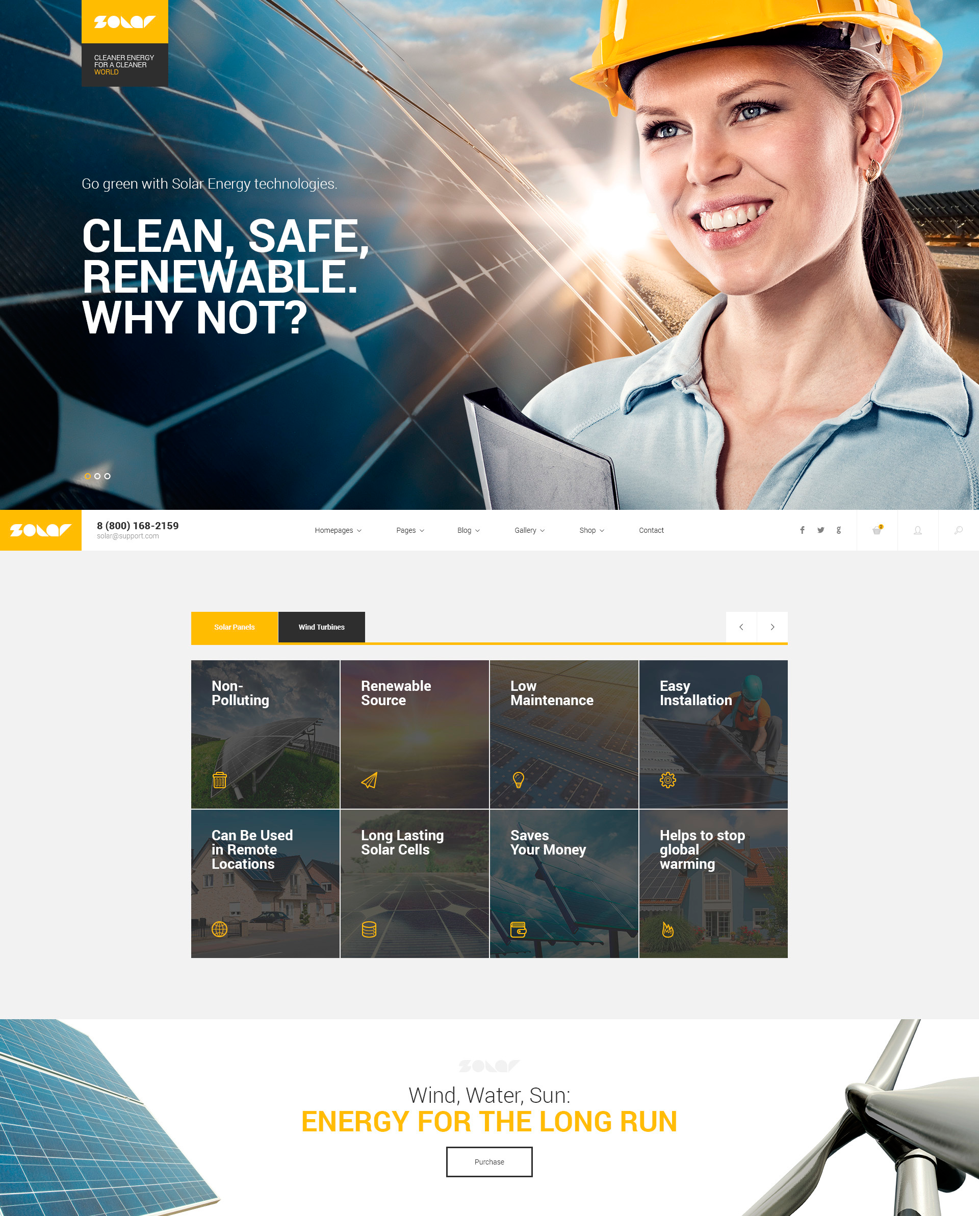 Solar Energy - Renewable Energy Technologies WordPress Theme